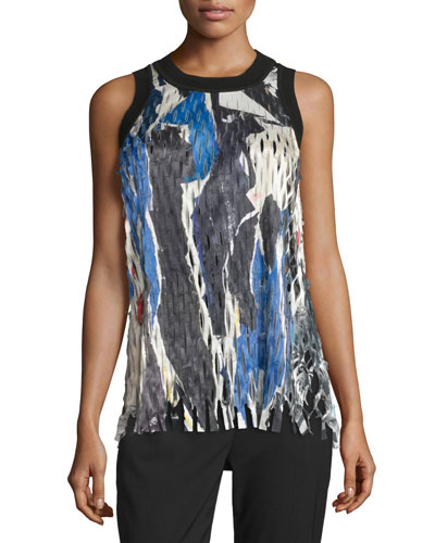 Sleeveless Printed Laser-Cut Top, Black