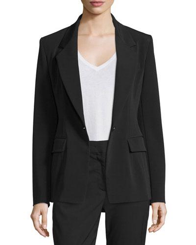 Crepe Single-Button Blazer, Black