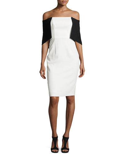 Off-the-Shoulder Crepe Colorblock Dress, Porcelain/Black