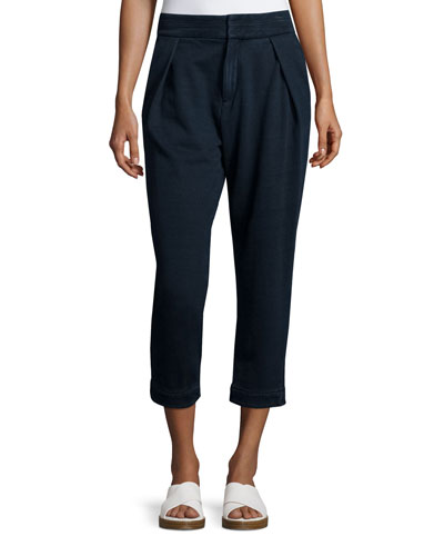 Rhom Pleated-Front Cropped Pants, Indigo Knit Four