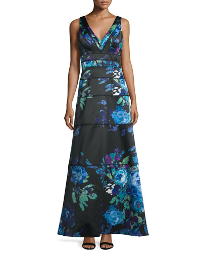 Sleeveless Floral-Print Ball Gown, Blue Multi