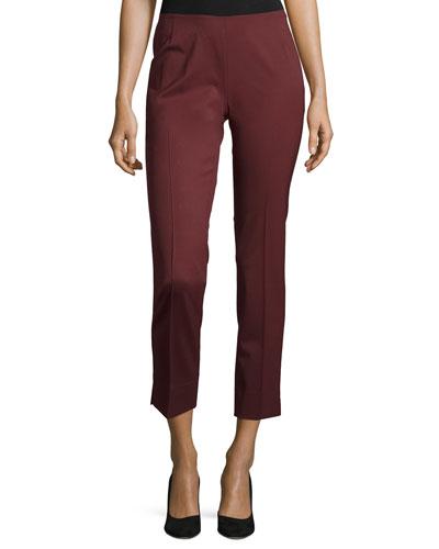 Stanton Straight-Leg Cropped Pants, Cabernet
