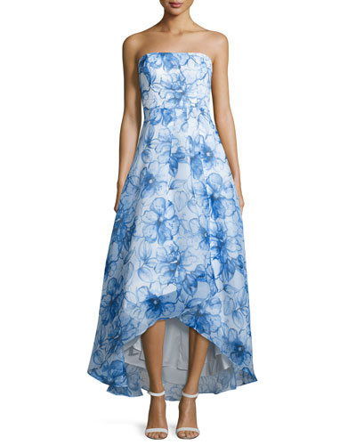 Strapless Floral-Print Ball Gown