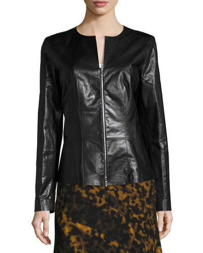 Maris Lambskin Peplum Jacket, Black