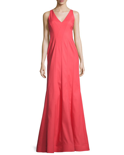 Sleeveless Seamed Mermaid Gown, Coral