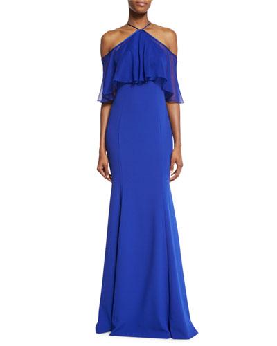Sleeveless Crepe Silk-Trim Gown, Cobalt