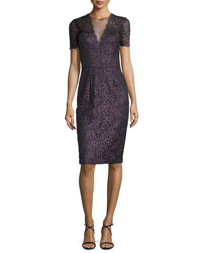 Short-Sleeve Lace Cocktail Dress, Grape