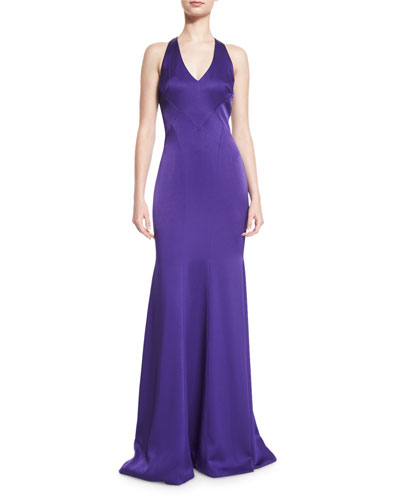 Sleeveless Satin Contour Gown, Purple