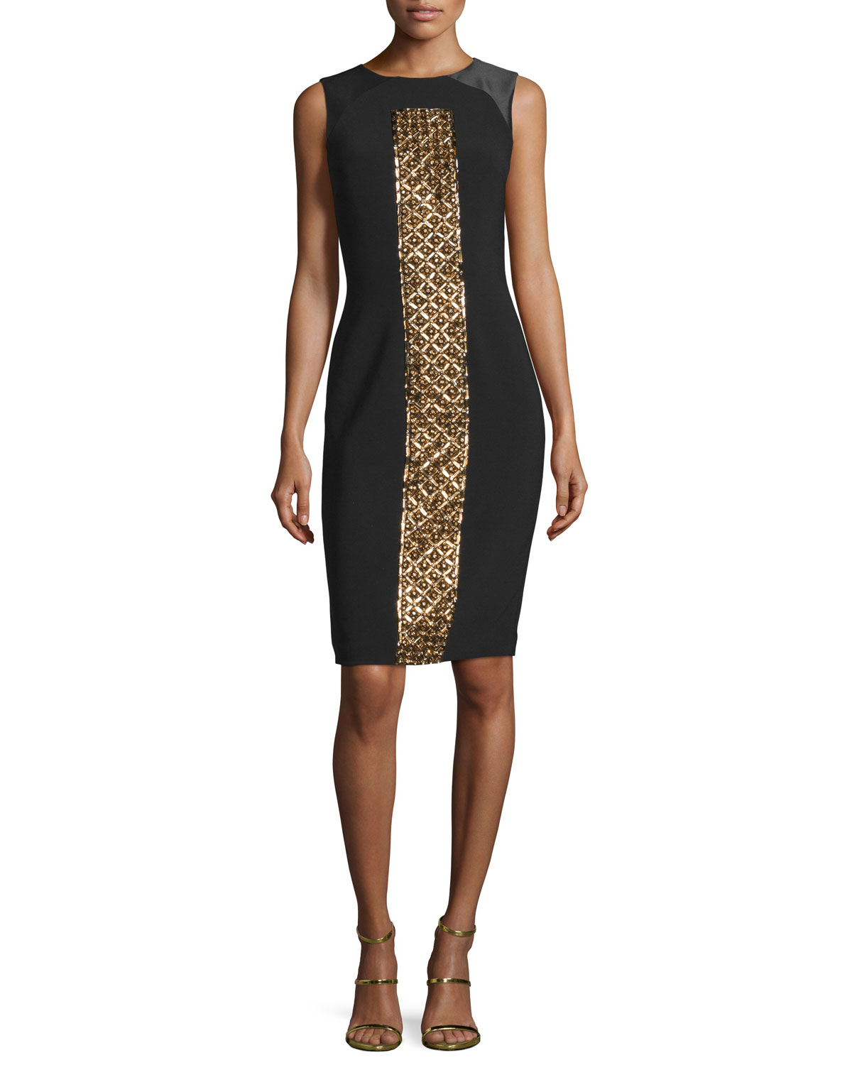 Sleeveless Beaded Cocktail Dress, Black/Gold