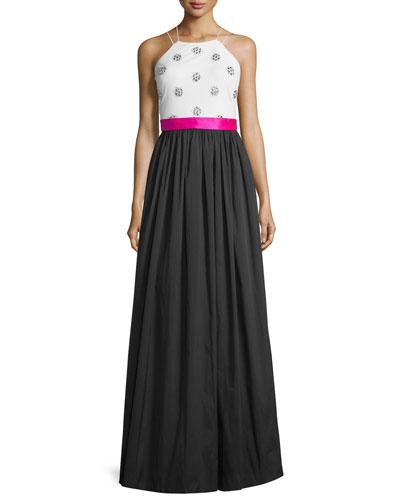 Sleeveless Embellished Colorblock Gown, Black/Ivory