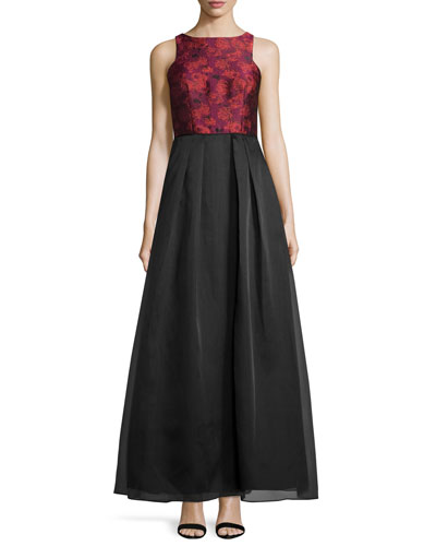 Floral-Print Bodice A-Line Gown, Red/Multi