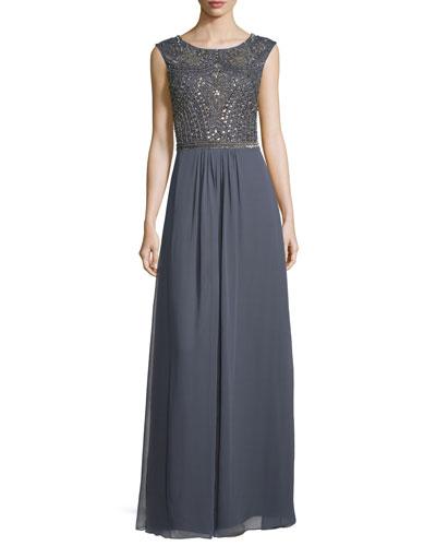 Sleeveless Embellished-Bodice Gown, Gunmetal