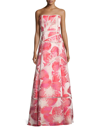 Strapless Floral-Print Ball Gown, Watermelon