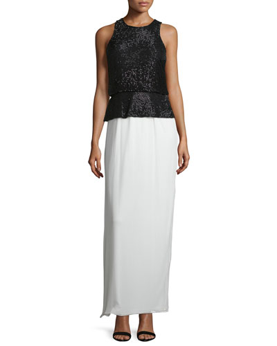 Beaded Colorblock Column Gown, Black/Ivory