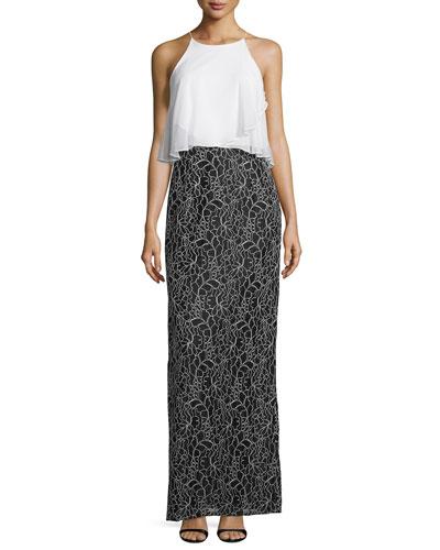 Sleeveless Flowy-Popover Column Gown, Black/Ivory