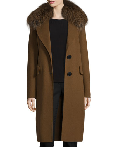 Wool-Blend Coat w/ Fox Fur, Spice