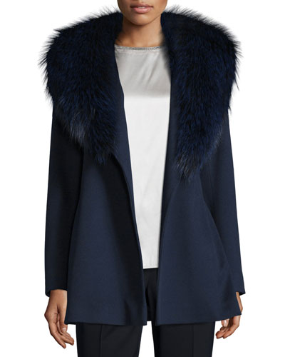 Short Wool Wrap Coat w/ Fox Fur, Midnight