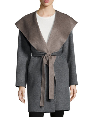 Double-Face Hooded Wool Wrap, Gray