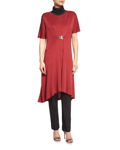 Flowing Short-Sleeve Dress W/Buckle, Red, Petite