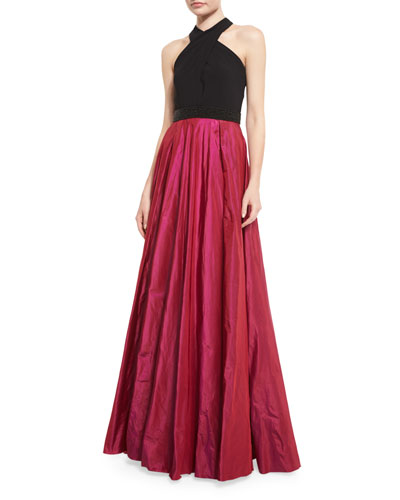 Sleeveless Beaded Jersey & Taffeta Ball Gown, Black/Magenta