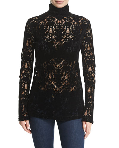 Long Sleeves Black Lace Top | Neiman Marcus