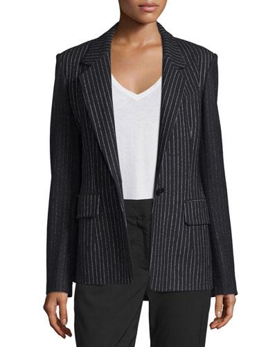 Striped Wool-Blend Jacket, Black