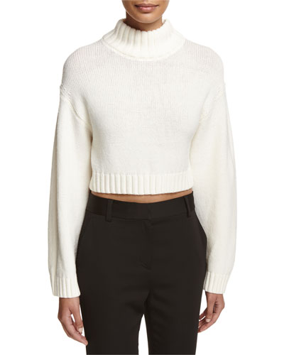 Long-Sleeve Cropped Wool-Blend Sweater, White