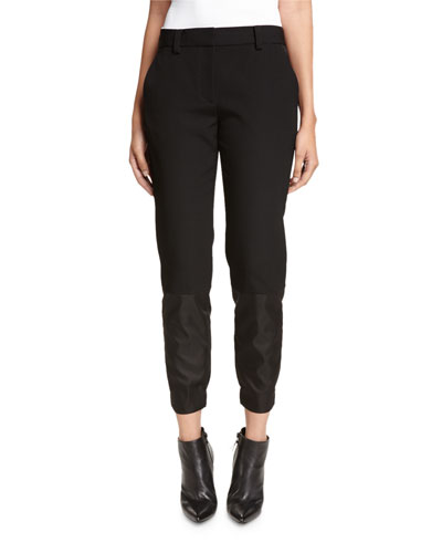 Mixed-Media Ankle Pants, Black