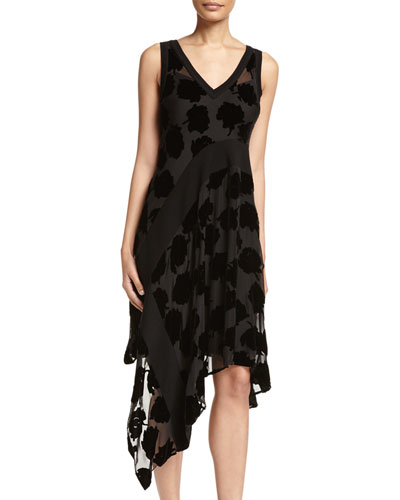Sleeveless Velvet Leaf Midi Dress, Black