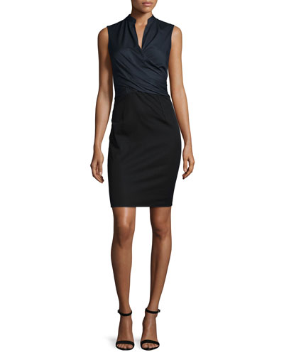 Laken Sleeveless Crossover Dress, Navy Yard