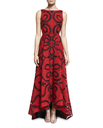 Floral-Print Arched-Hem Lace Gown, Red/Black