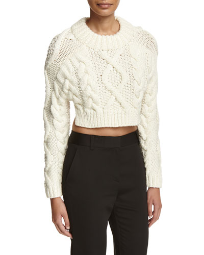 Cropped Wool Open-Back Sweater, Chalk