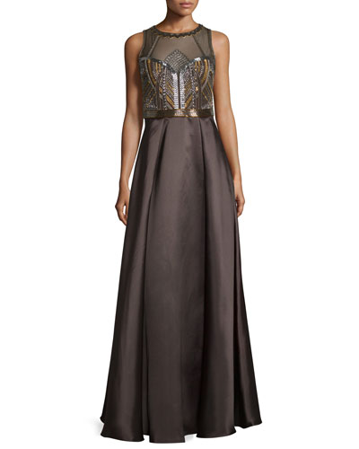 Sleeveless Embellished-Bodice Ball Gown, Mink