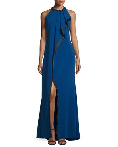 Asymmetric-Ruffle Sleeveless Gown, Blueberry