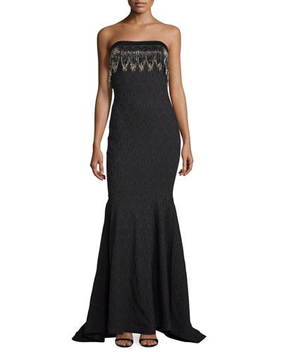 Strapless Textured Gown W/Beaded Fringe, Black