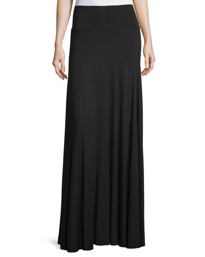 Long Full Stretch-Jersey Skirt, Black