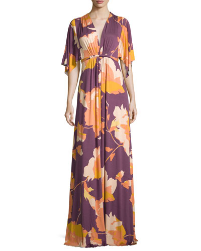 Floral-Print Long Caftan Maxi Dress, Desert Flower, Plus Size
