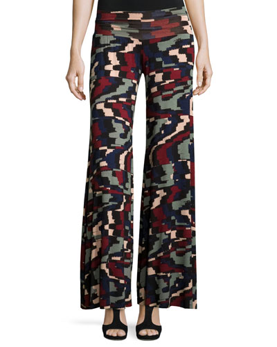 Wide-Leg Printed Jersey Pants, Plus Size