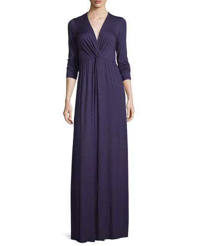Rosemarie Twisted Long-Sleeve Maxi Dress, Nightfall, Plus Size