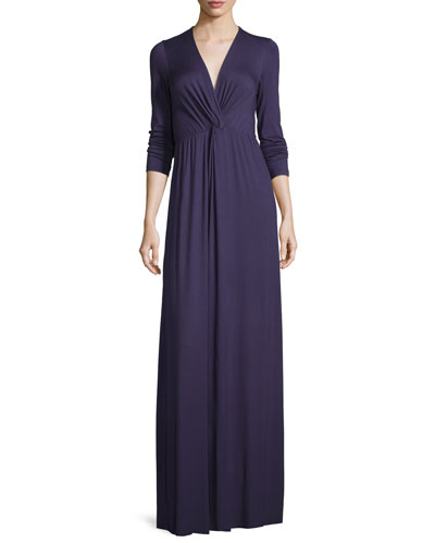 Rosemarie Twisted Long-Sleeve Maxi Dress, Nightfall