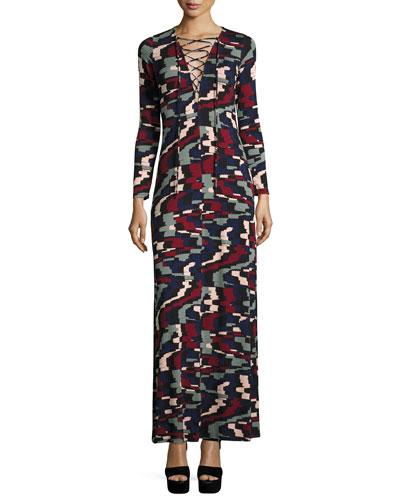 Jolene Long-Sleeve Lace-Up Maxi Dress, Pulse, Plus Size