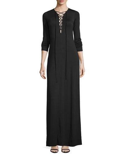 Jolene Long-Sleeve Lace-Up Maxi Dress, Black, Plus Size