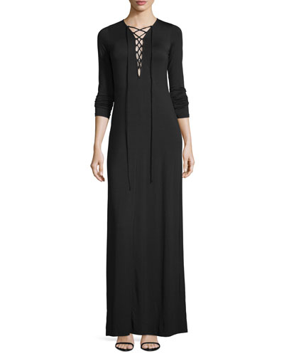 Jolene Long-Sleeve Lace-Up Maxi Dress, Black