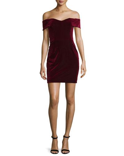 Velvet Off-the-Shoulder Mini Dress, Bordeaux