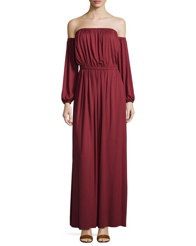India Off-the-Shoulder Maxi Dress