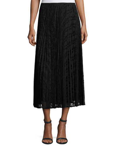 Dorothy Pleated Devore Midi Skirt, Black