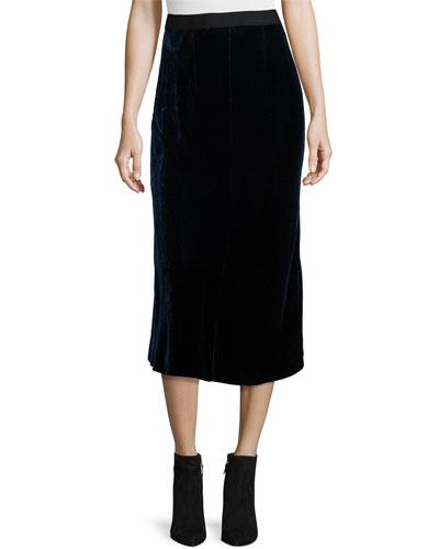 Velvet Midi Skirt, Navy