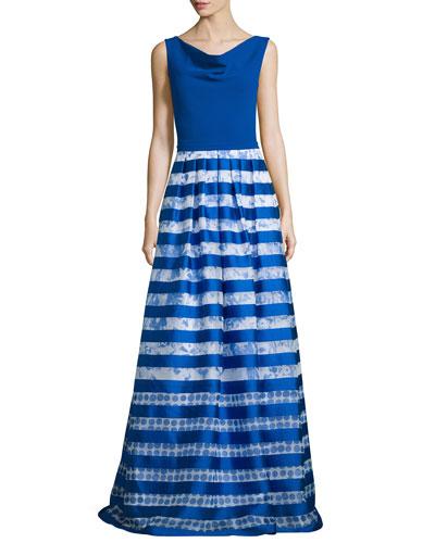 Sleeveless Striped-Skirt Ball Gown, Royal/White