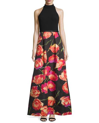 Halter-Neck Gown W/Floral-Print Skirt, Black/Poppy