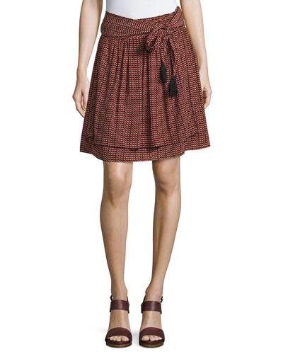 Baja Ripple-Print Tassel-Tie Skirt